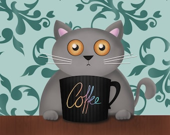 Printable wall art, coffee cat, but coffee first, coffee addict cat