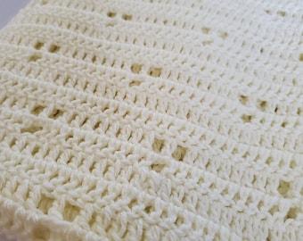 Handmade Crochet Cream Receiving Baby Blanket for Stroller Cover, Christmas Gift, Baby Shower, Birthday Gift, Baptism, Christening