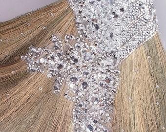 Ultra Glamorous Wedding Broom with Blinged Handle and Swarovski Crystals