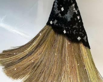 "Black Lace ""Edgy"" Broom with Swarovski Crystals"