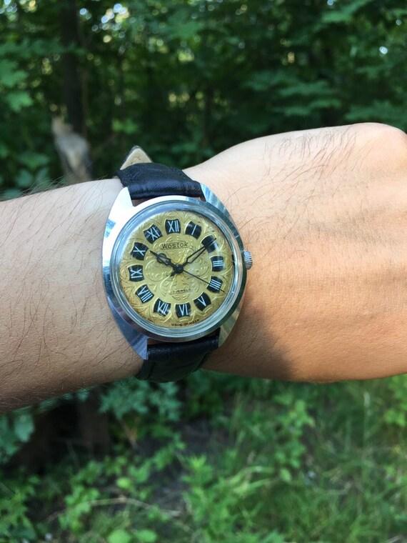 Rare Soviet watch Wostok 1970s guilloche dial, USS