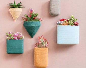 Set of 6 Wall Hanging Planter Vase Resin Wall Decor Container Succulent Plants, Modern Wall Planter Terrarium, Air Plant, Faux Plants