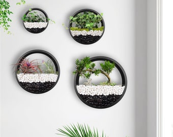 Pack of 4 Wall Hanging Planters Modern Wall Planter Terrarium Circle Metal Flower Pot Air Plant Vertical Holders Hanging Vase Home Decor
