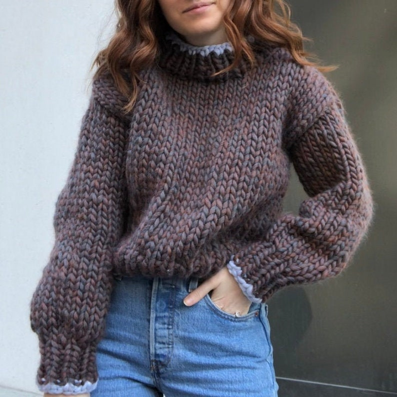 Knitting Pattern: Cozy Mock Neck Sweater Cropped Fit Super image 0