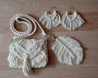 Macrame Accessories Set - Bag, Earring, Leaf(KeyChain) - Best Gift For Her Who Likes Bohemian Style - Vintage Macrome