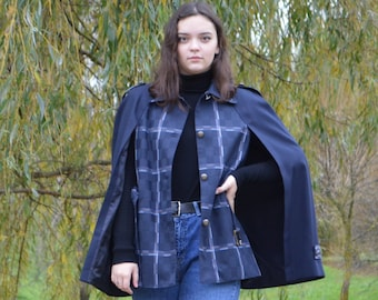 \u0421ape with lining. Couture outerwear Short cape vest Spring jacket stylish blazer for women wool cape cloak for women