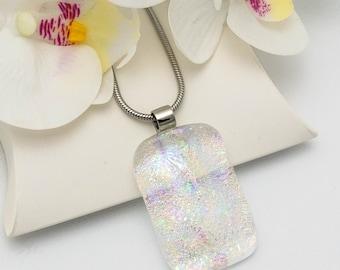 Sparkly Crystal Rainbow Dichroic Fused Glass Pendant, Unique Multi Colour Glass Necklace -Unique Handmade Glass Pendant, Bridesmaid Gift