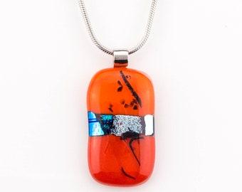 Red, Orange, Dichroic Glass Pendant, Fused Glass Pendant,  Handmade Glass Necklace, Inspirational Fashion Jewelry