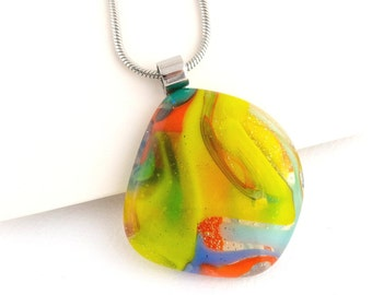 Geometric Yellow, Green, Red Fused Glass Pendant, Unique Handmade Glass Necklace for Women, Fused Glass Jewelry