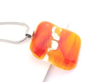 Sunset Orange Glass Pendant, Fused Glass Pendant,  Handmade Glass Necklace, Inspirational Fashion Jewelry