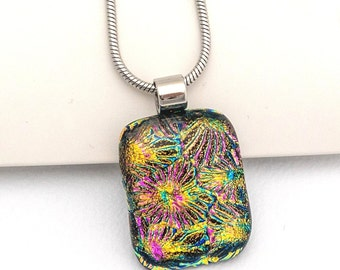 Sparkly Fused Glass Pendant - Dichroic Fused Glass Gold, Pink Pendant - Square Necklace - Handcrafted Fused Art Glass, Birthday Gift