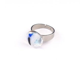 Stunning Fused Dichroic Glass Silver, White, Blue, Black Ring, Handmade Glass Ring, Unique Art Glass Jewelry for Women, Stainless Steel Band