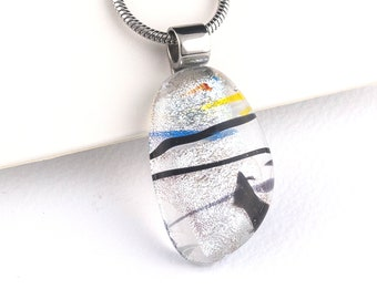 Sparkly Silver Dichroic Glass Pendant with black streaks, Unique Silver Dichroic Glass Necklace - One of a Kind Handmade Pendant