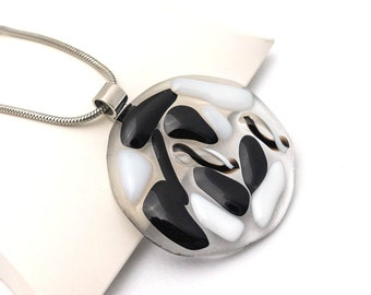 Fused Glass Pendant, Unique Black and White Round Handmade Glass Necklace, Inspirational Fashion Jewelry