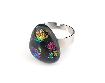 Stunning Black fused Glass Dichroic Ring, Gold, Pink, Green, Purple, Handmade Glass Ring, Unique Jewelry for Women, Stainless Steel Band
