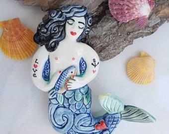 Modern tattoo mermaid with fish. Handmade ceramic bathroom wall hanging decor or coastal sea life, beach theme room. Fun birthday gift.