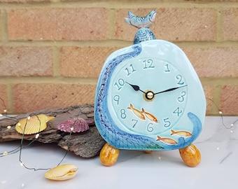 Handmade pottery Clock, fish theme in blue and yellow pebble shape feet. Coastal or sea bathroom decor. Gift for friend, sealover new home.
