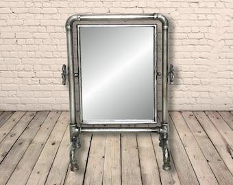 37cm Iron Industrial Water Pipe Free Standing Dressing Table / Bathroom Vanity Mirror