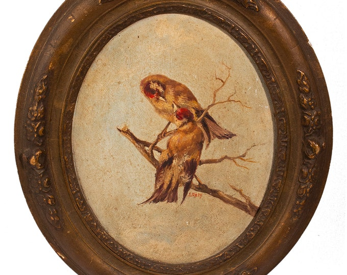 Featured listing image: Small Oval French Framed Painting in Oil of Birds