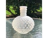 Vintage White Clear Opalescent Hobnail Single Bud Vase 5 quot X 4 quot