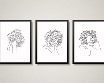 Set of 3. Abstract Contour Line Drawing. Afro Curly Hair Women. Black Wall Art