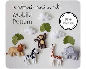 Safari Animal Felt Sewing Pattern / PDF Download / Safari Baby Mobile /  Safari Nursery / Sewing Tutorial / Baby Shower Gift