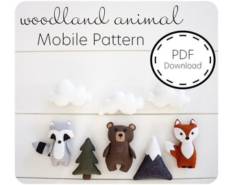 Woodland Animal Felt Sewing Pattern / PDF Download / Baby Mobile /  Woodland Nursery / Sewing Tutorial / Baby Shower Gift