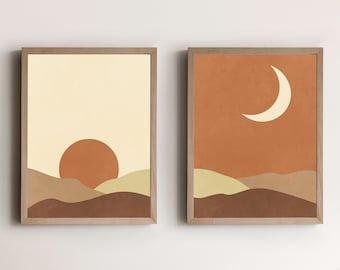 Boho Printable Wall Art ABSTRACT SUN and MOON, Set of 2 Prints Mid Century Modern Wall Art Prints Geometric Art Minimalist Printable Art