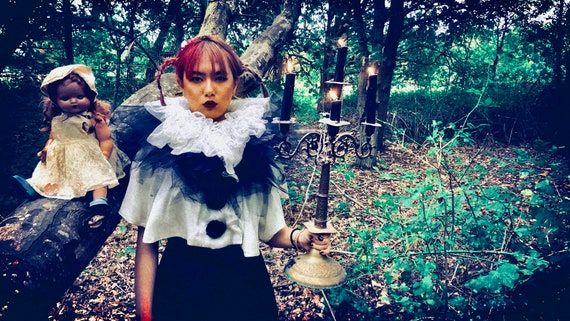 Vintage bespoke Pierrot costume shrug - image 9