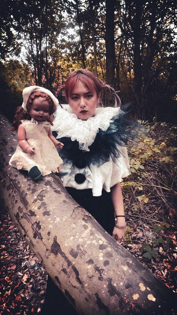 Vintage bespoke Pierrot costume shrug - image 3