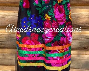 Navajo Scarf Sani skirt   Navajo floral scarf   ribbon skirt   Pow wow skirts