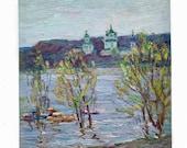 CHURCH RIVER LANDSCAPE Vintage original oil painting Soviet Ukrainian artist Borymchuk 1970s impressionist unique artwork boats spring art