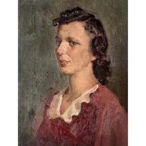 WOMAN PORTRAIT Antique Canvas Vintage original oil painting Soviet Ukrainian artist Vovk A 1950s mid century impressionist female artwork