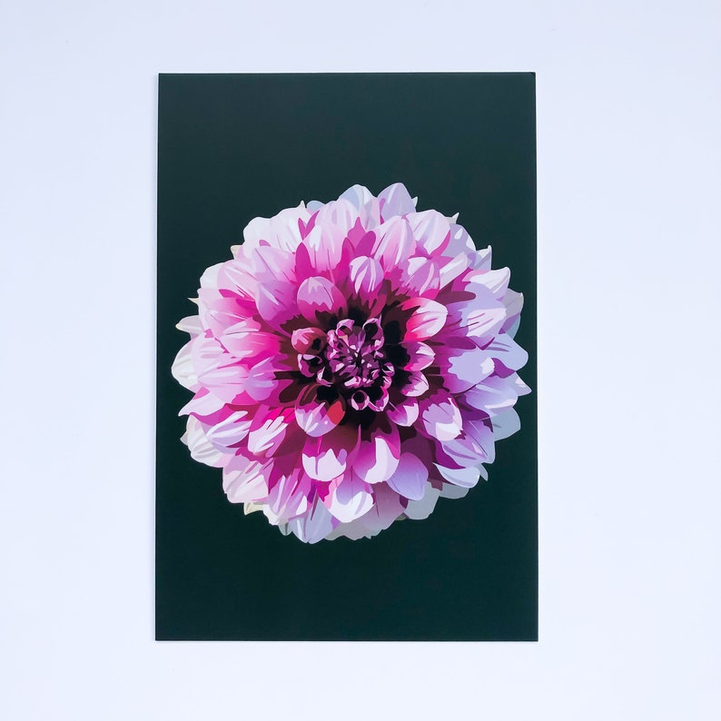 Digitally Illustrated Flower Notecard Purple Dahlia Art Print Dahlia Postcard