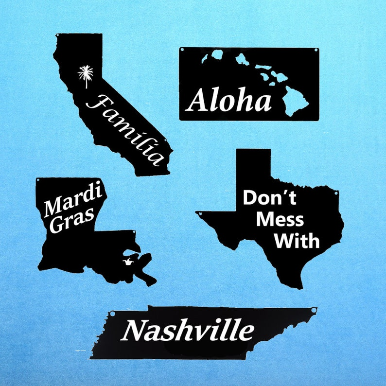 Personalized Word Cutout of Your State Metal State Silhouette Sign Custom State Signs All 50 States