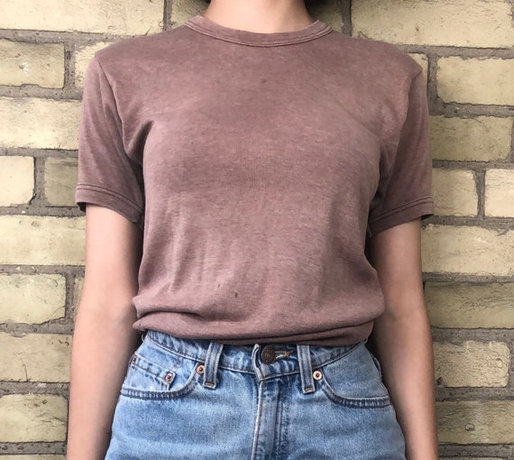 Vintage 1970s Faded Brown Ringer T-Shirt