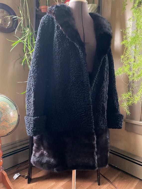 Vintage 60s Boulcé Wool Coat with Mink Fur Trim