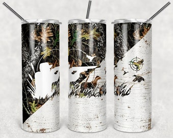 USA Flag Camo Duck Hunting Instant Download template Sublimation PNG Design 20 oz Skinny Tumbler