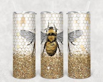 20 oz Skinny Tumbler Sublimation Design Template Glitter Bumble Bee Design Digital Download PNG Inst DIGITAL Only rts tumblers Tamara