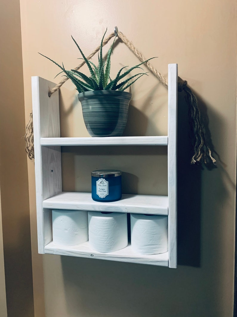 bathroom storage hanging rope shelf Bathroom shelf
