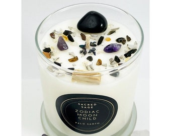 Sacred Sage - Palo Santo Crystal Candle - Holy Wood - Smudge - Spiritual Zen Candle Collection - Crystal & Herb Candle– 100% Natural Soy Wax