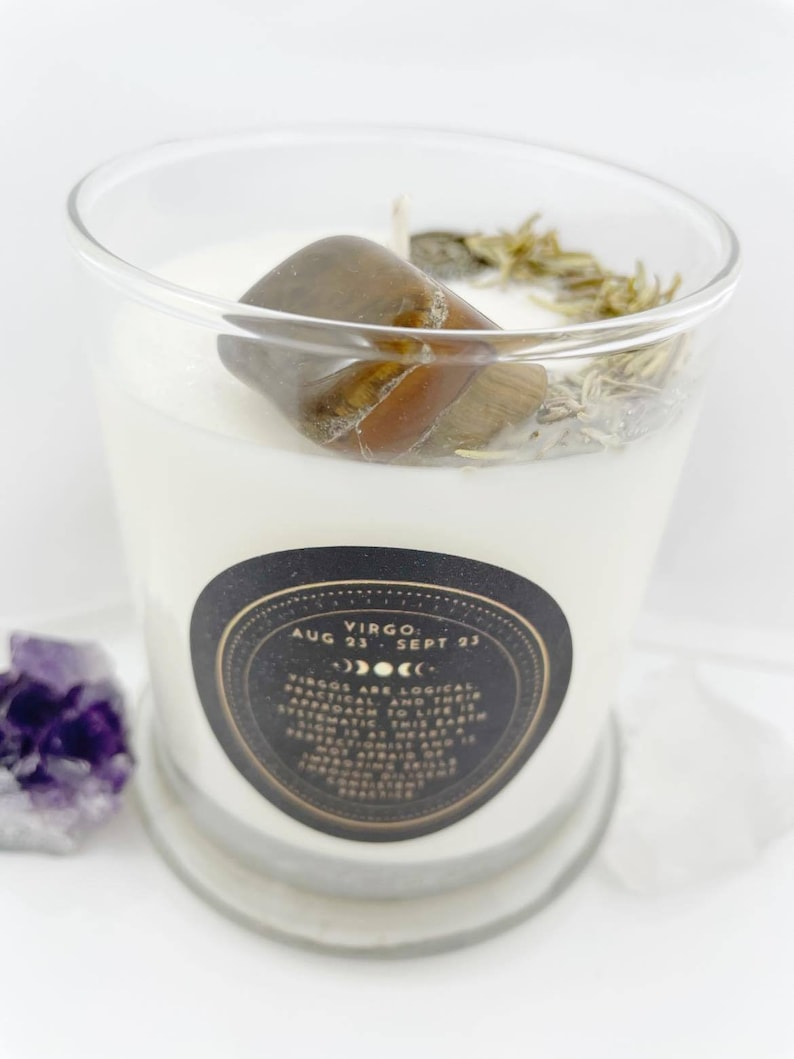 Crystal /& Herb Candle \u2013 100/% Natural Soy Wax Virgo \u2013 Mint and Eucalyptus Crystal Candle Spiritual Crystal Candle Collection Zen Astro