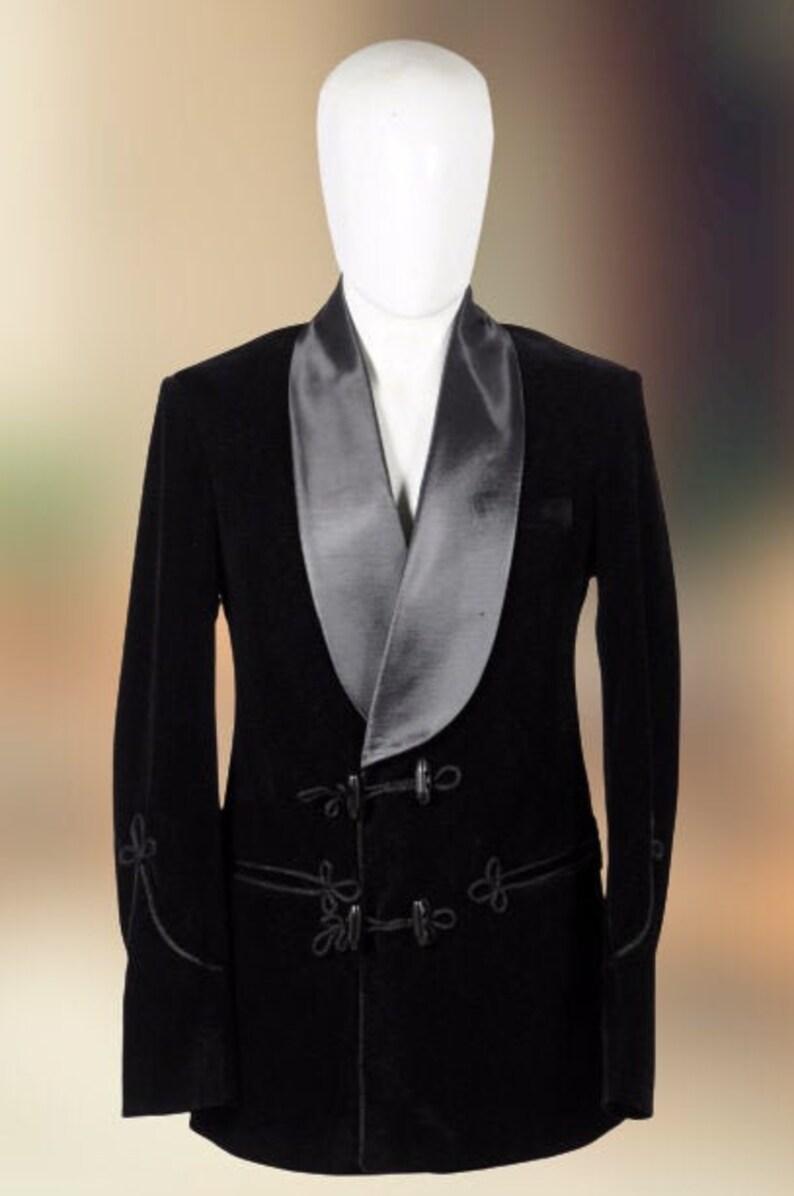Men Smoking Jacket Black Luxury Velvet Smoking Blazer Double Breast Evening Party Wear Blazer Coat