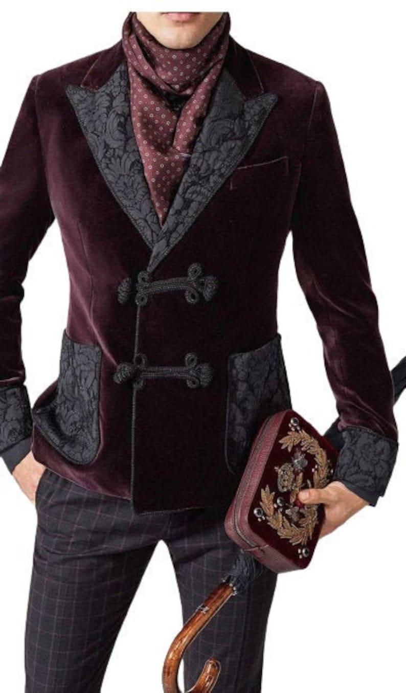 Men's Vintage Clothing | Retro Clothing for Men     Smoking Jacket Men Burgundy Velvet Blazer Double Breasted Coat Frog Closure Style Slim Fit Party Wear Dinner Coat  AT vintagedancer.com
