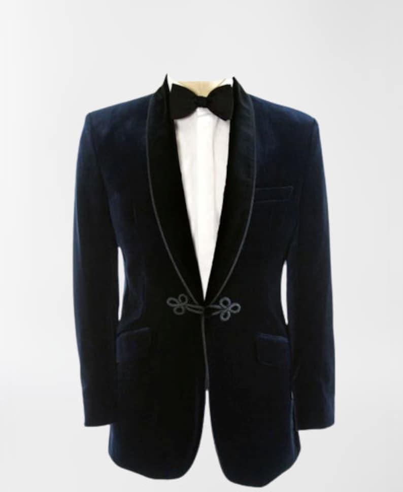 Men's Vintage Clothing | Retro Clothing for Men Men Tuxedo Jacket Royal Blue Double Breasted Frog Closure Velvet Blazer Slim Fit Dinner Coat $147.00 AT vintagedancer.com
