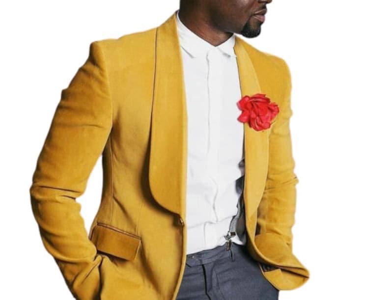1970s Men's Suits History | Sport Coats & Tuxedos Men Tuxedo Jacket Velvet Yellow Dinner Party Wear One Button Coat Blazer $149.00 AT vintagedancer.com