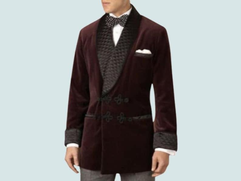 Men's Vintage Clothing | Retro Clothing for Men Smoking Jacket Men Velvet Blazer Quilted Frogging Style Party Wear Dinner Coat $149.00 AT vintagedancer.com