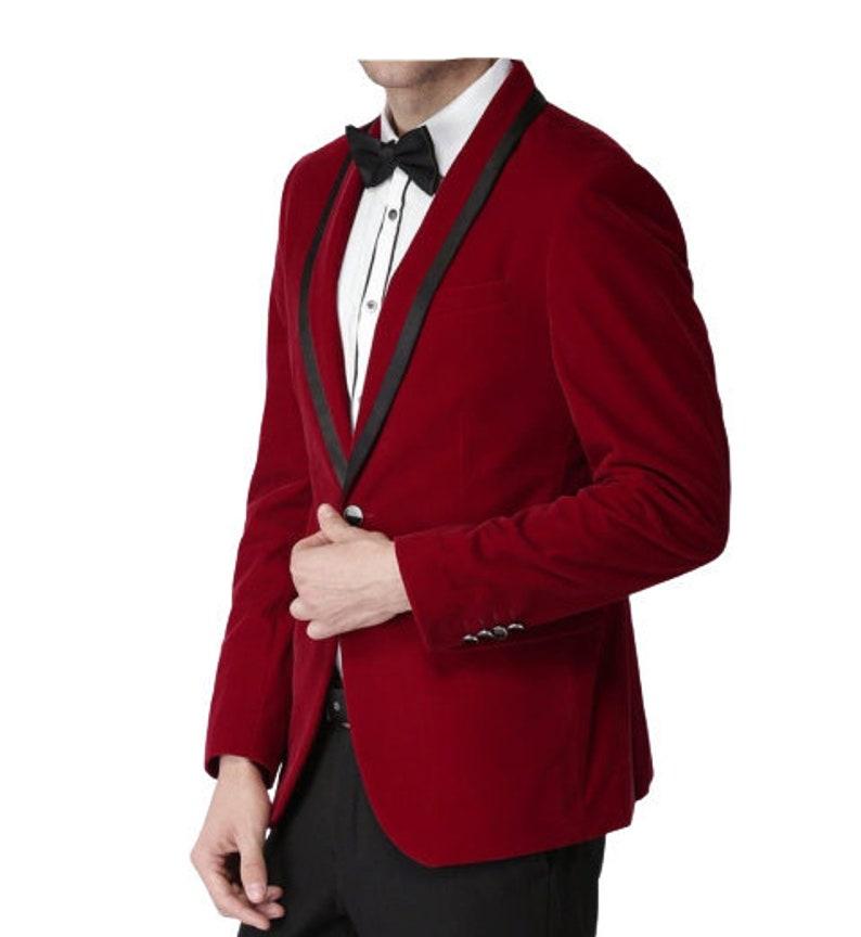 1960s Mens Suits | Mod, Skinny, Nehru Men Red Tuxedo Jacket Velvet Tuxedo Evening Hosting Dinner Party Wear Blazer $138.50 AT vintagedancer.com