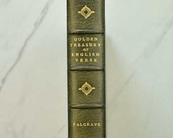 The Golden Treasury of English Verse, Illustrated by Laurence W. Chaves, in a Fine Turquoise Morocco Binding