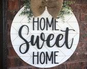 Home Sweet Home Door Hanger Summer Door Wreath Spring Door Wreath Herring Bone Decor Home Sign Front Door Decor Fron Door Sign